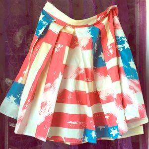 Artsy American flag print full skirt
